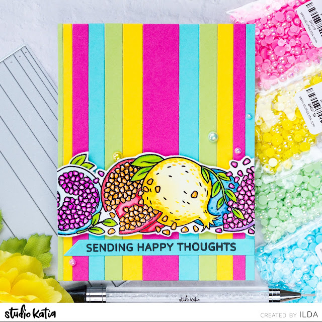 Sending Happy Thoughts Colorful Pomegranate Trimmings Card | Studio Katia