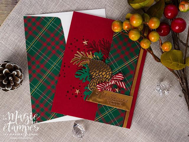Carte de Noël Stampin' Up! faite avec le jeu d'étampes Branches paisibles