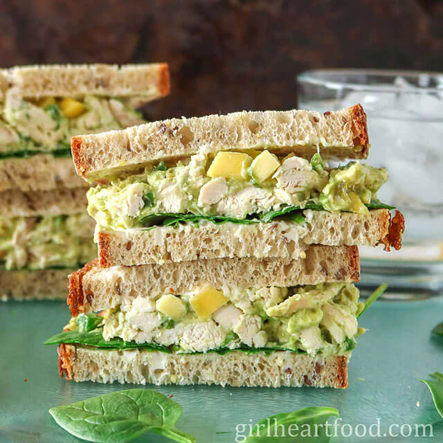 Chicken Avocado Sandwiches by Girl Heart Food (Easy Recipe For Using Leftover Chicken)