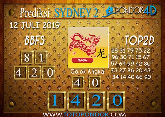 Prediksi Togel SYDNEY 2 PONDOK4D 12 JULI 2019