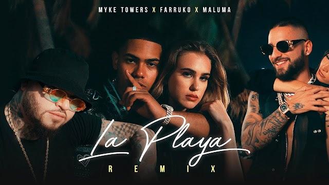 Myke Towers Ft. Maluma y Farruko – La Playa (Remix) [Official Video]