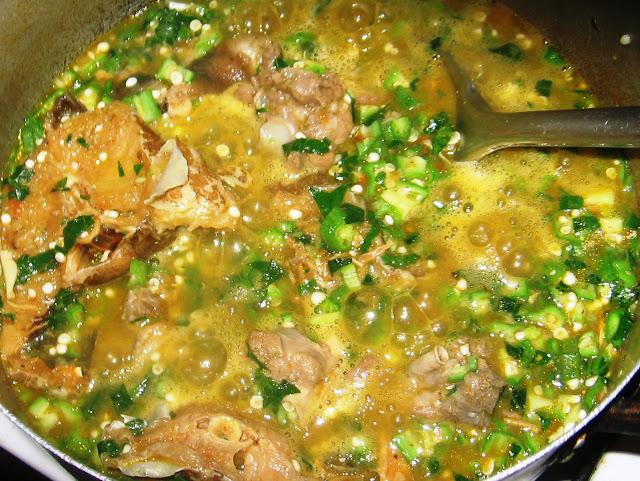Pot of Nigerian okra soup