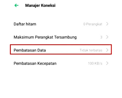 Menu Pembatasan data