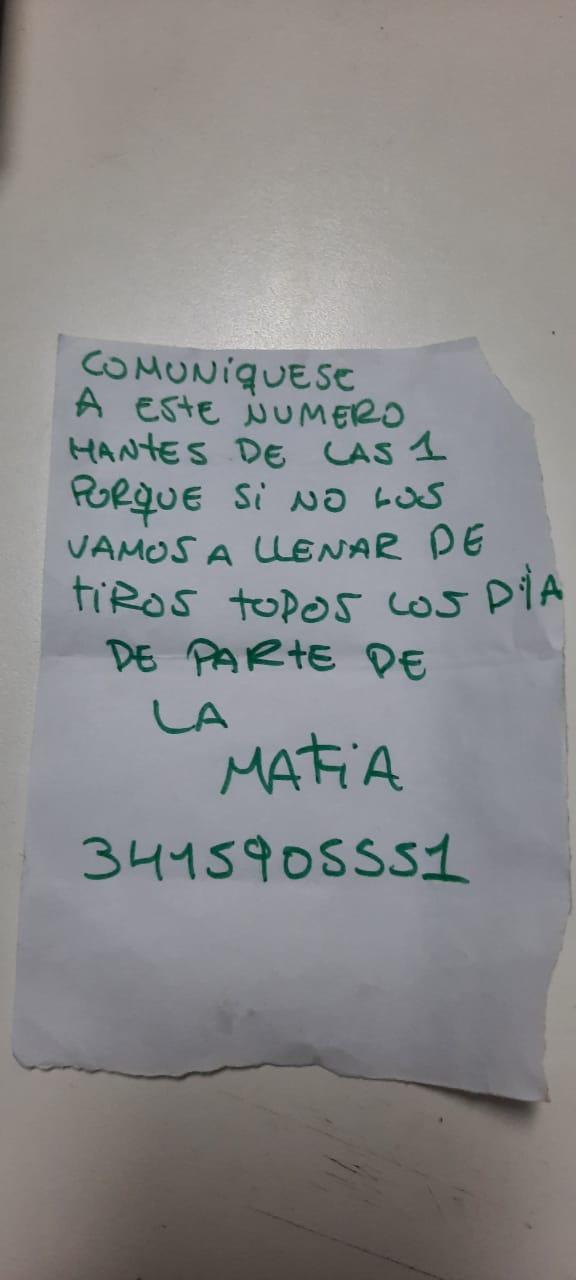 """Una Kiosquera de Pueblo Nuevo recibió una amenaza de una supuesta """"mafia""""  a través de una nota"""