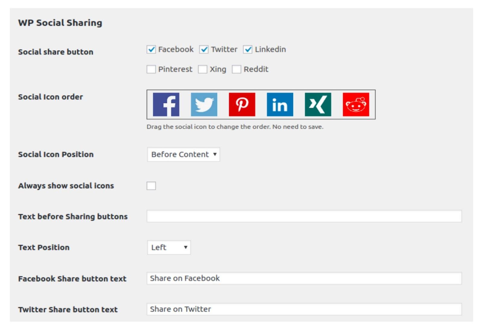 WP Social Sharing WordPress Plugin