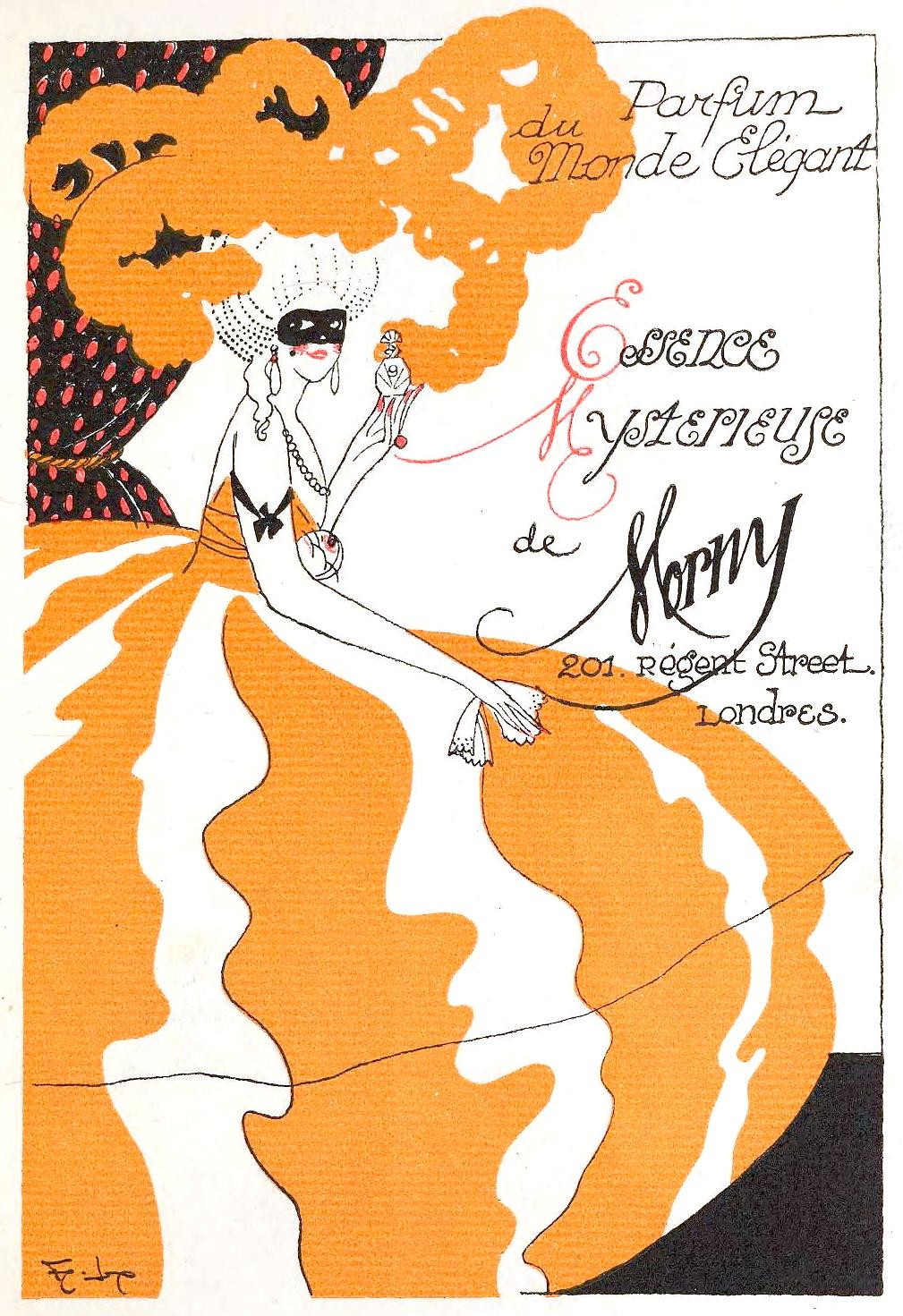a 1920 perfume advertisement in a French fashion magazine, color illustration of a masked woman, de Morny perfume ad