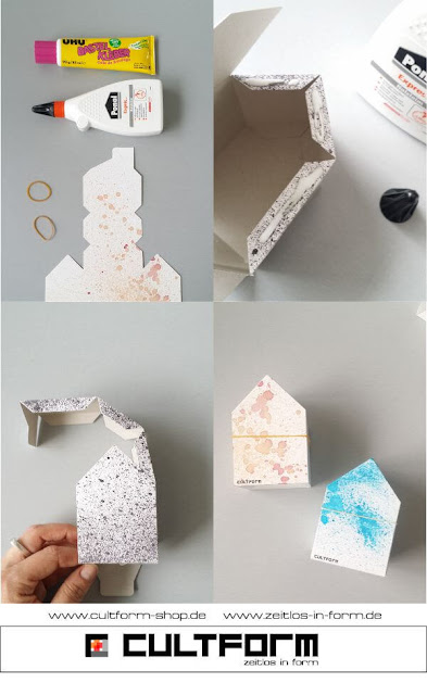 Die Hausbox von Cultform. Ein eindrucksvolles und doch einfaches DIY: kleine Geschenke individuell modern verpacken im aktuellen Watercolor-Trend: Hausbox Klebeanleitung
