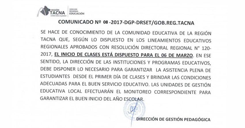 DRE Tacna: Disponen el Inicio de Clases para el 6 de Marzo en toda la Región - www.educaciontacna.edu.pe