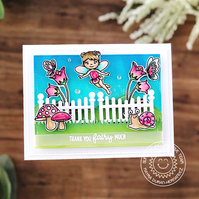 Sunny Studio Stamps: Scalloped Fence Dies Garden Fairy Home Sweet Gnome Card by Mayra Duran-Hernandez