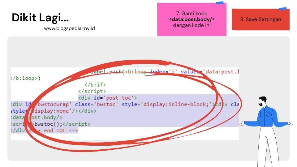 ganti kode data:post:body  dengan kode TOC