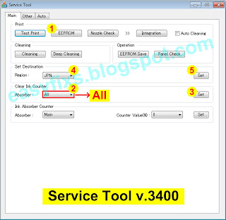 Operation of Service Tool v3.400 to reset the waste ink counter