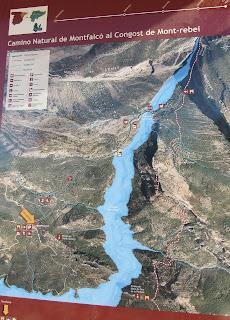 Mapa camino Natural de Montfalcó al Congost de Mont-rebei.
