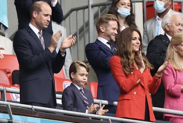 Prince William and Kate Middleton, Duchess of Cambridge. Kate Middleton wore Zara textured double breasted blazer