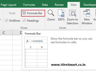 Hide or Show the Formula Bar