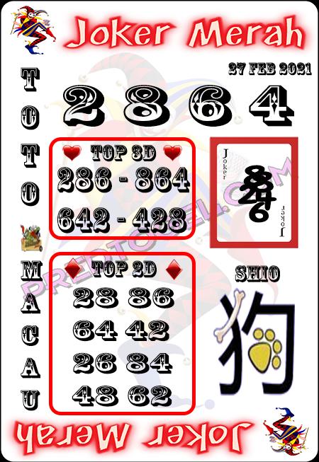 Prediksi Joker Merah Macau Sabtu 27 Februari 2021