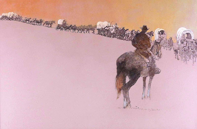 a Bernie Fuchs illustration of a wagon train