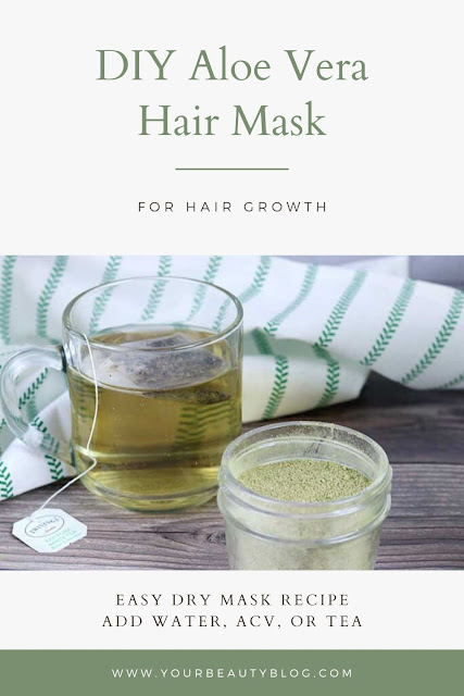 How to make a DIY hair mask for damaged and growth. This easy hair treatment makes a powder that you add water, apple cider vinegar, or tea to make a mask. It has aloe vera powder, moringa powder, and coconut milk powder. This mask is for growth, but it is also for dry hair, for frizz, for dandruff, for growth homemade, for dry damaged hair, for breakage, and for itchy scalp. It nourishes hair while it promotes hair growth at the scalp. #diy #hairmask #aloevera