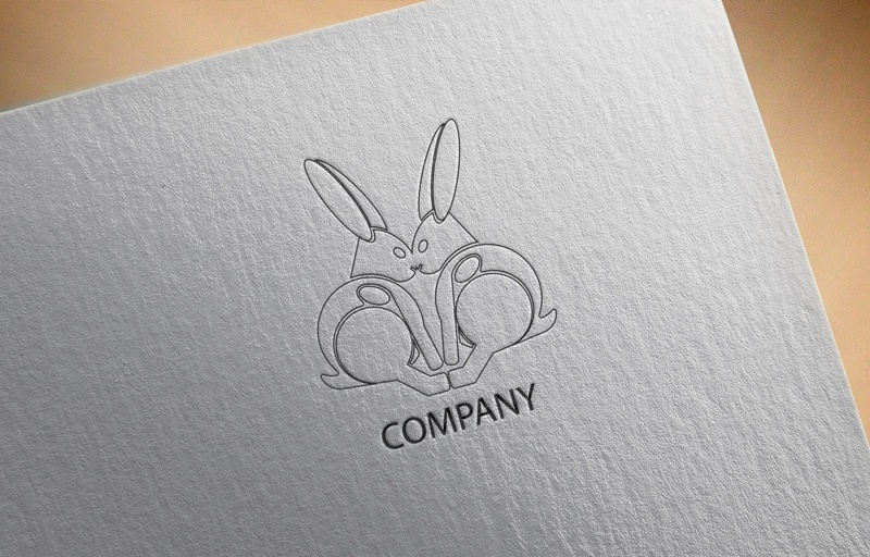 Download Free Two Rabbits in One Face Logo for Business