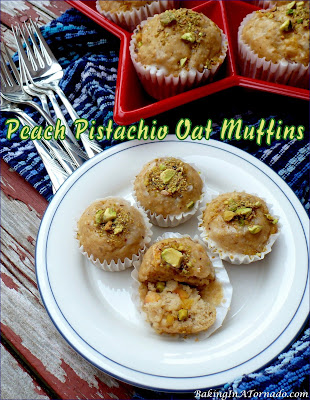 Peach Pistachio Oat Muffins, an easy breakfast favorite. Chopped peaches and pistachios add flavor and texture to an oat muffin. | Recipe developed by www.BakingInATornado.com | #recipe #bake