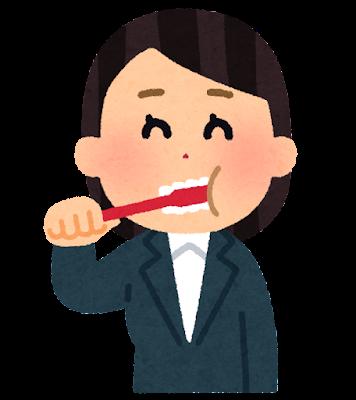 歯磨きをする会社員のイラスト(女性)