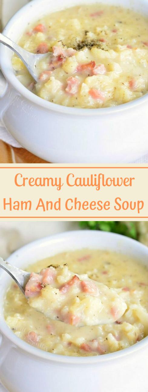 CREAMY HAM AND CHEESE CAULIFLOWER SOUP #cauliflower #soup #dinner #easy #paleo