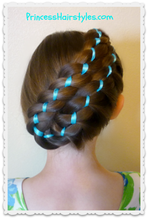 easter hairstyles  diagonal stacked ribbon braid updo