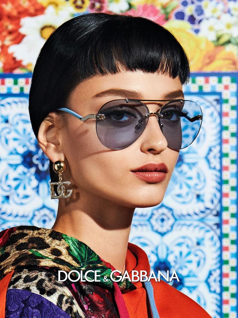 Ivana Trivić poses for Dolce & Gabbana Eyewear spring-summer 2021 campaign.