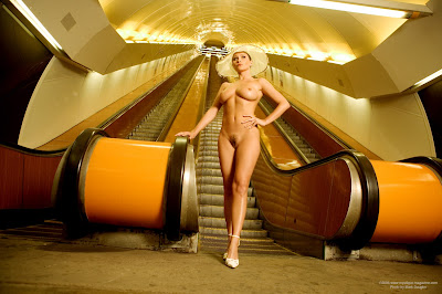 Gorgeous Naked Brunette Kyla Kole With Big Boobs On the Escalator