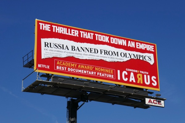 Icarus Oscar nominee billboard