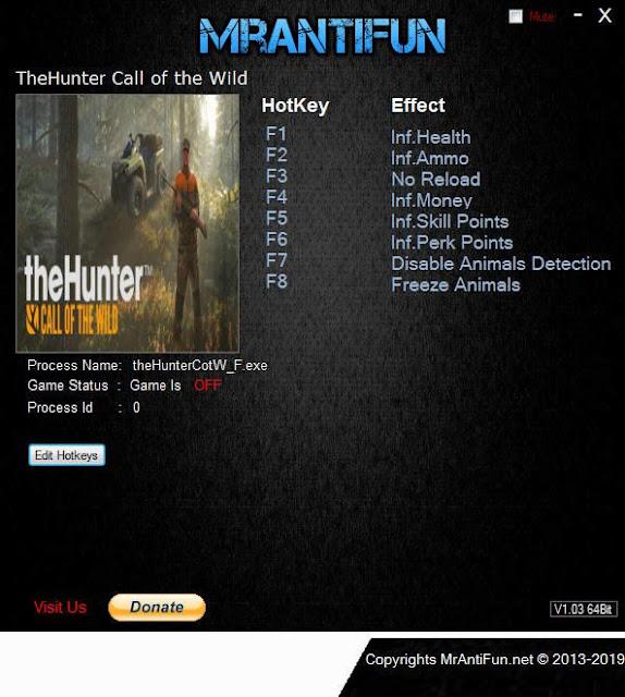 Cheat dan Save Data Game The Hunter Call of The Wild PC