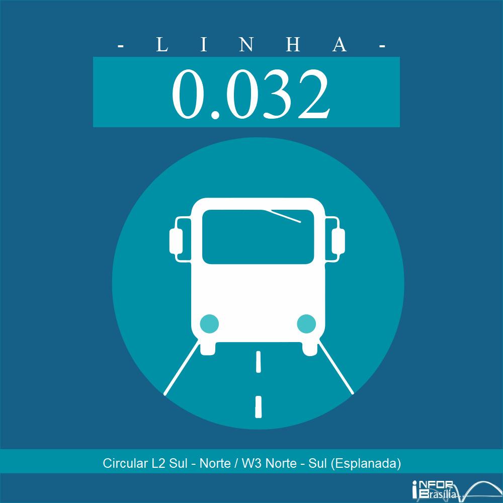 Horário de ônibus e itinerário 0.032 - Circular L2 Sul - Norte / W3 Norte - Sul (Esplanada)