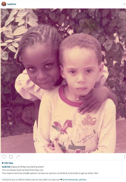 I will pick you a million times over as my sister- Chimamanda Adichie's brother celebrates her on 44th birthday as he shares throwback photos