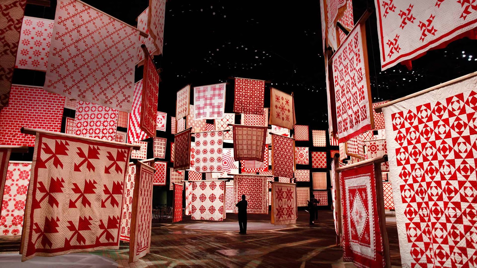 Three Centuries of Red and White Quilts at the American Folk Art Museum in New York City in 2011, for National Quilting Day © Shannon Stapleton/Reuters