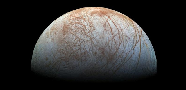 Previous studies had hinted that something like subduction may have been happening on Jupiter's moon, Europa. A new study provides geophysical evidence that it could indeed be happening on the moon's icy shell. Photo credit: NASA/JPL-Caltech/SETI Institute