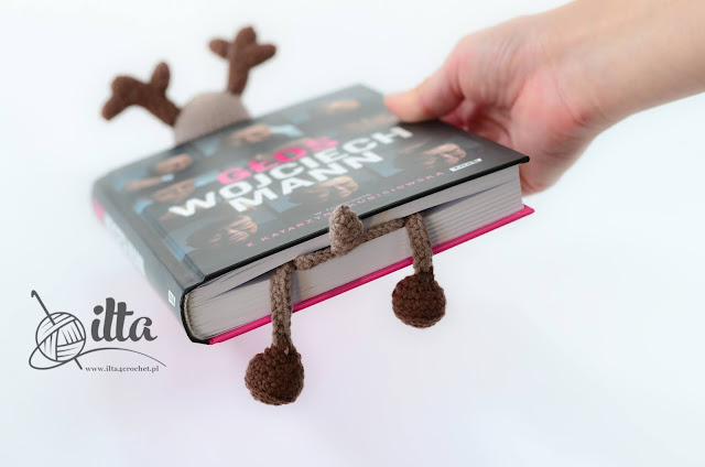 Crochet bookmark  reindeer Rudolf - tutorial