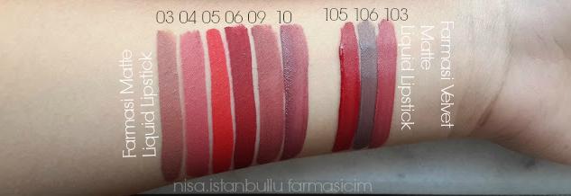 Farmasi Matte Liquid Lipstick 030405060910 Nisanur