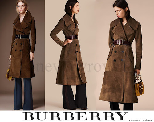 Kate Middleton wore Burberry Double Breasted Suede Coat