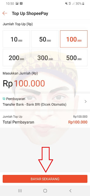 Cara Top Up ShopeePay (Pilih nominal top up)