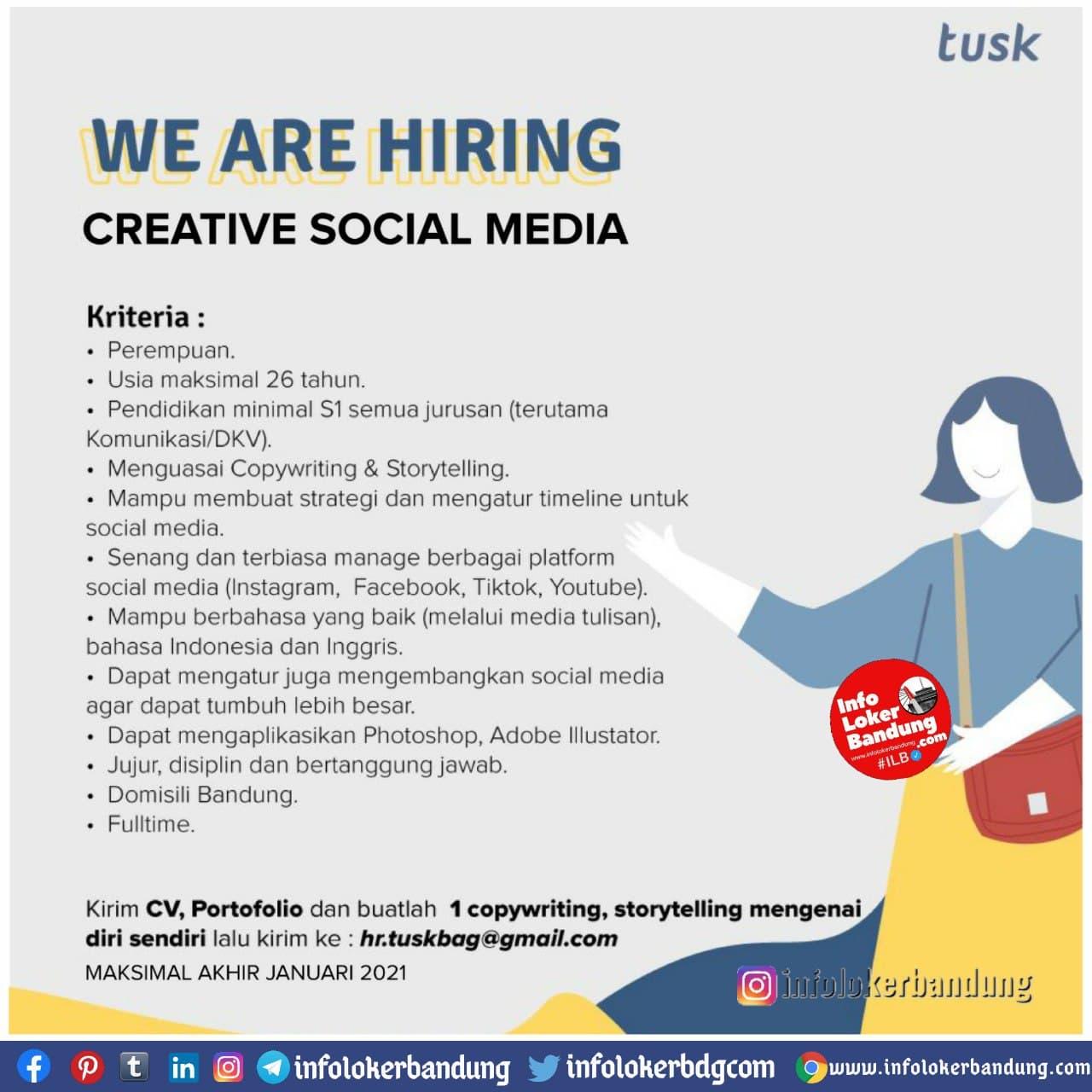 Lowongan Kerja Creative Social Media Tusk Bags Cimahi Januari 2021