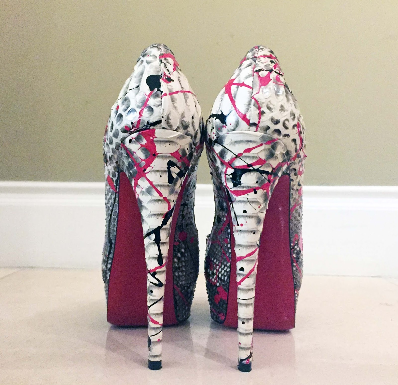 christian louboutin lady peep graffiti pumps