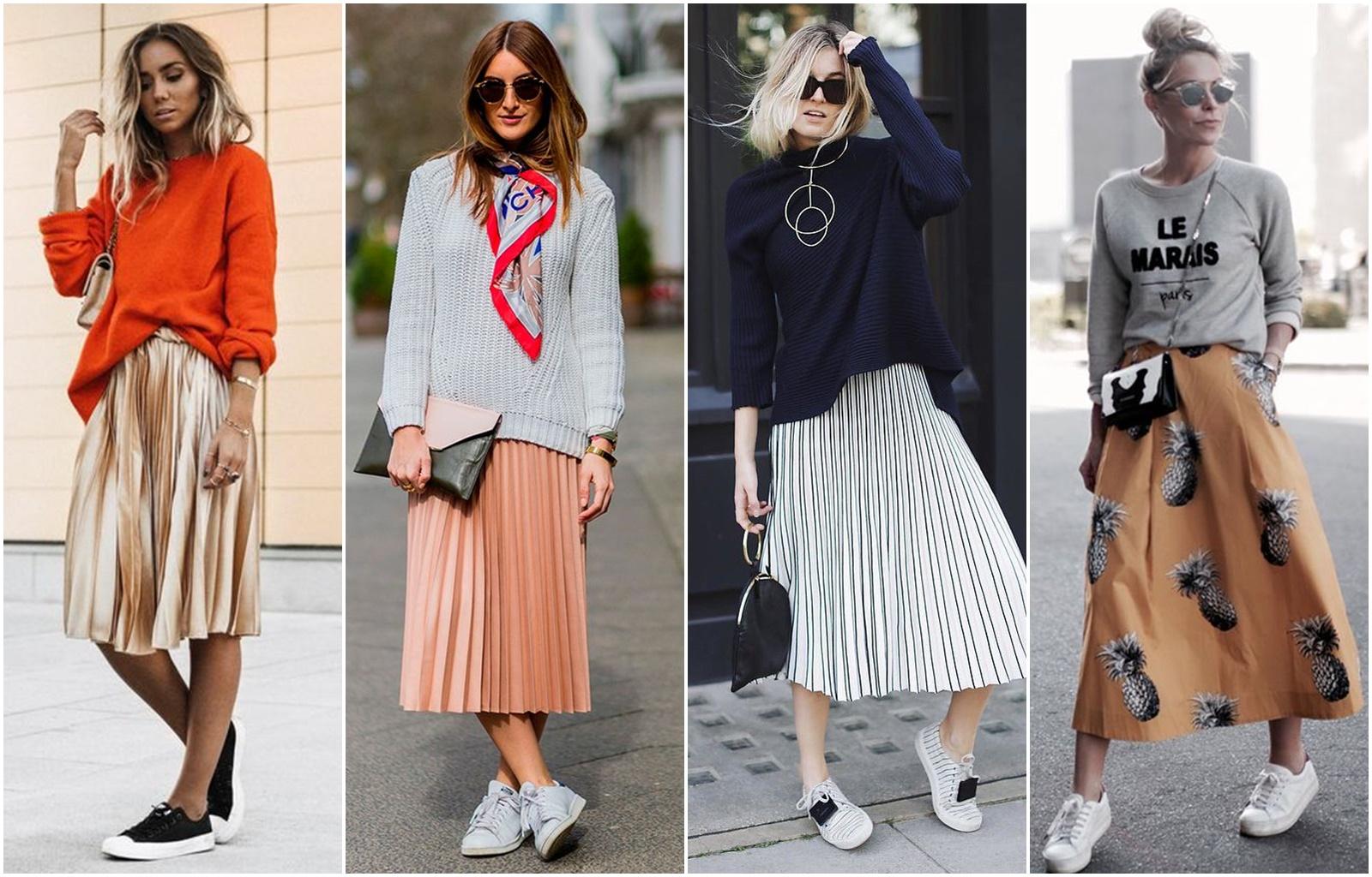 Como usar saia midi com tênis - Blog Cris Felix