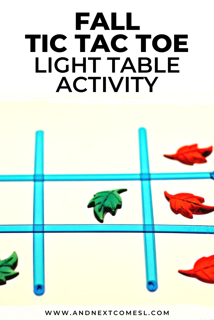 The kids will love this fall tic tac toe light table activity idea!