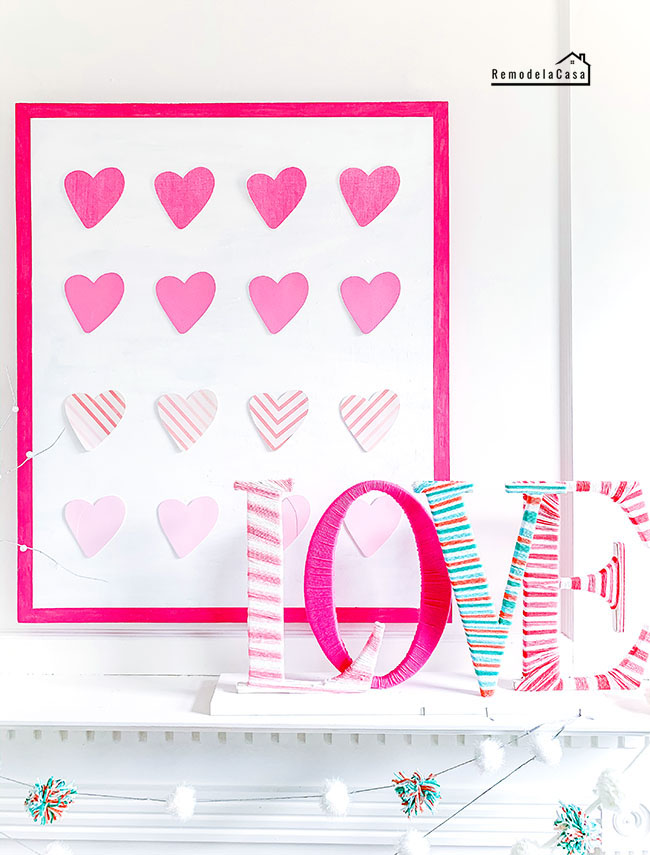 yarn wrapped love and pink ombre heart wall art