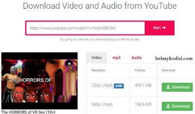 Menggunakan situs youtube downloader