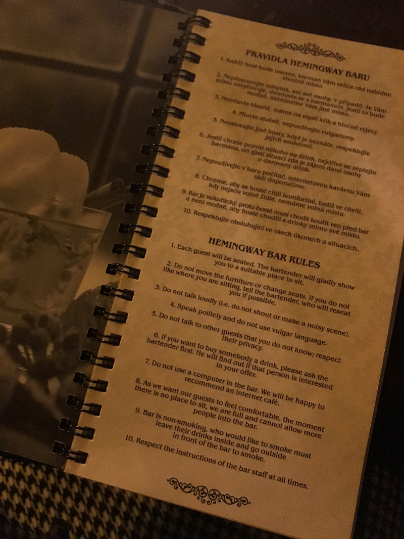 A list of house rules at Hemingway Bar in Prague
