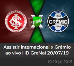 Assistir Internacional x Grêmio ao vivo - Grenal online grátis dia 20/07/2019 às 19h00 - Brasileirão Série A - Transmissão da PREMIERE (FUTEMAX)