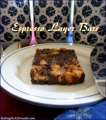 Espresso Layer Bars are simple to assemble, layering one flavor on top of another, then baked into chewy, crunchy bars. | Recipe developed by www.BakingInATornado.com | #recipe #dessert