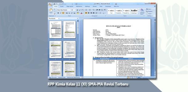 RPP Kimia Kelas 11 (XI) SMA-MA Revisi Terbaru untuk Tahun 2019-2020