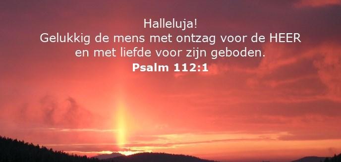 Halleluja! Gelukkig de mens met ontzag voor de HEER en met liefde voor zijn geboden.