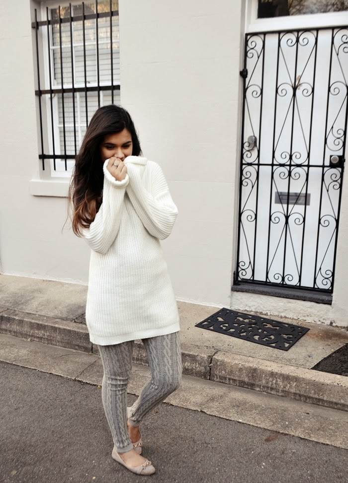 cable knit leggings, knit dress